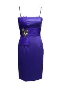 ANNE F - Элегантный Очаровательная Модный Модный Плиссировать органзы атласная-линии фиолетового цвета Спагетти Evening партии Короткое платье