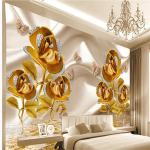 3d European palace style golden jewelry flower wallpapers TV background wal l3d stereoscopic wallpaper