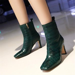 2021 fashion Ladies bare boots square toe high heels ladies shoes autumn winter solid color ankle boots size 34-43