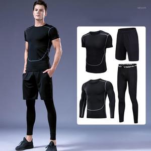 2020 Hot Sports Terno Men Moda Respirável Yoga Fitness Set Absorve o desgaste do exercício do suor molhado executando a peça de mangas de quatro peças