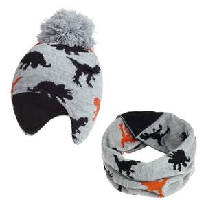 fashion beanie baby hat Set Cartoon Baby dinosaur Neck Collar Kids Beanies Sets Cotton Children Hats Scarf Plus cashmere