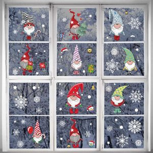 Christmas Cartoon Stickers Xmas Electrostatic Stickers Door Wall Merry Christmas Decor For Home 2020 Happy New Year