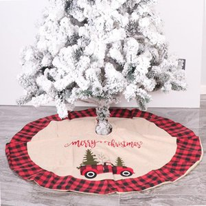 Merry Christmas Xmas Tree Apron Plaid Car Red FlowersPrinted Cloth Round Carpet Floor Mat New Year Holiday Decoration
