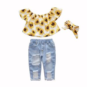 Summer Baby Girls Clothes Sets Toddler Newborn Outfits Off Shoulder Sunflowers Tops+Denim Jeans Pants babyborn roupa infantil X0923