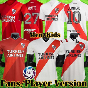 2021 River Assiette Home Jersey Football Martínez Cavenaghi Scocco Quintero 2020 2021 Plaque de football concept de football Hommes Kids Kits Equitmnt