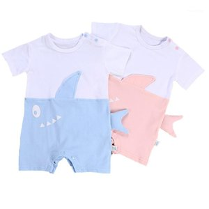 Designer Whale Costume Kids Baby Boy Baby Girls Casual Clothes Short Sleeve Rompers One Piece Cotton Pink Blue Jumpsuit1