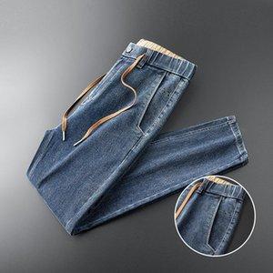 TFETTERS nuevos hombres Ropa Casual 2020 Otoño de algodón grueso Pantalones vaqueros de los hombres de color sólido Loose Jeans de tobillo de longitud