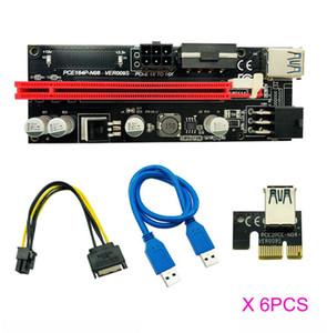 6pcs Newest USB 3.0 PCI-E Riser VER 009S Express 1X 4x 8x 16x Extender Riser Adapter Card SATA 15pin to 6 pin