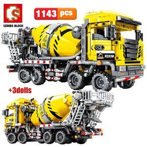 SEMBO Block City Engineering Bulldozer Crane Technic Techner Грузовик Экскаватор Роликовые Строительные Блоки Кирпичи Строительные игрушки Q0109
