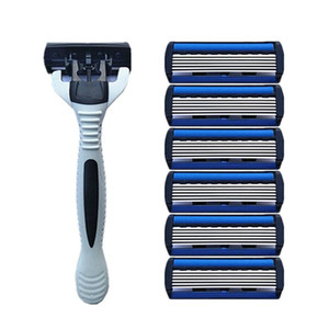 1 +4 Combo Set Men Safety Traditional Classic 6 Layers Shaving Hair Blade Razor Manual Stainless Steel Shaving Hair Blade Shaver For Man