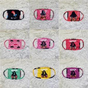 WAP Mektupları Baskılı Moda Kadınlar Yüz Maske toz geçirmez Anti-UV Maskeler Koruyucu Ağız-mufla Süt İpek Kumaş Nefes Maskeleri D102303