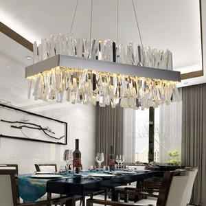 Modern Crystal Chandelier For Dining Room Rectangle Design Kitchen Island Lighting Fixtures Chrome LED Cristal Lustre DHL