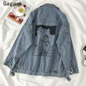 Gagaok Donne risvolto Streetwear Jacket 2020 tasche Primavera Autunno Nuovo ricami Stampare casuale allentata Harajuku selvatici rivestimenti di modo
