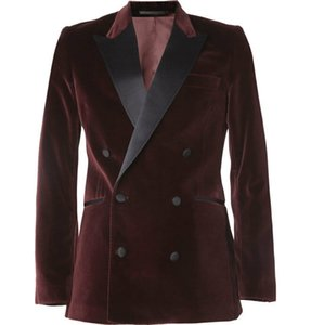 African Mens Double Breasted Dinner Jacket Just One Piece Burgundy Velvet Wedding Tuxedos Groomsman Coat Blazer