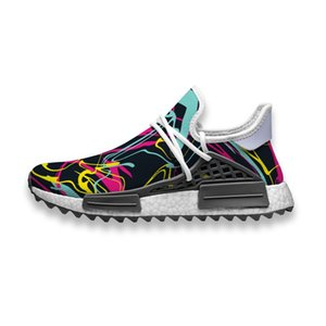 Custom Running Shoes Colorful Stripe Human Race NMD Trail Mens casual Sneakers slip