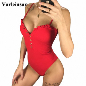 2020 2020 Sexy Bandeau completa Voltar Button Up Women Swimwear One Piece Swimsuit Feminino Banhista com nervuras Terno Swim Wear Praia V1212 Y 152q #