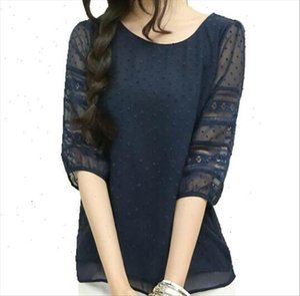 Korea Womens Style Fashion Sheer Blouses Half Sleeve Blusas Chiffon Shirts Lace Stitching Plus Size S 5xl