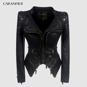 CARANFIER femmes cuir PU Automne Hiver Noir veste moto-vêtement gothique Faux Manteau Chaqueta X1102Y1104