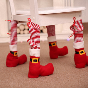 Christmas Chair Foot Cover Red Striped Restaurant Table Foot Cover Houseware Table Chair Protection Covers Textured Xams Decoration RRA3681
