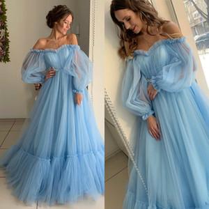 Off Shoulder Prom Dresses Long Sleeve Light Blue A Line Evening Gowns Bohemian Evening Dress Custom Made