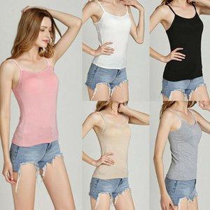 Mujer Camisole Camis 2021 NUEVO verano Casual Camisa básica Tops Tops Correa incorporada en sujetador Sujetador acolchado Modal Tank Top1