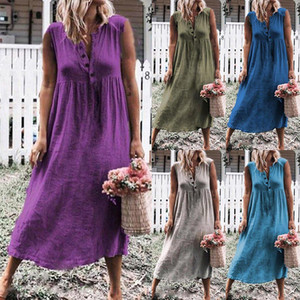 Farbe Solid New Women's Sleeveless Loose Cotton Leinenkleid im Sommer 2019