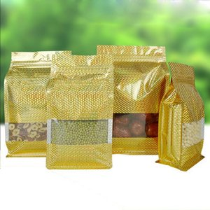 50Pcs Gold Embossed Mylar Stand Up Zip Lock Side Gusset Bags Window Reusable Zipper Aluminum Foil Dried Fruits Food Storage Bags