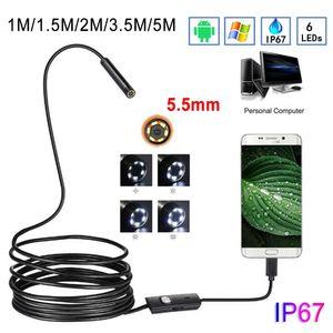 Fotocamera per endoscopio per obiettivo da 5,5 mm 1-10m IP67 flessibile IP67 Ispezione impermeabile Fotocamera per BoresCope per Android 6 LED regolabile