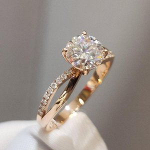 18K Rose Gold Ring AU750 1cr round cut Moissanite Stone Romantic Rings Engagement ring with moissanite Certificate