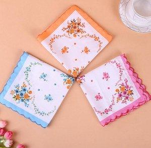 Cotton Handkerchief floreale ricamato donne Fazzoletti Fiore Lady Hankies Mini SquareScarf Boutique tasca tovagliolo libero OWF1180