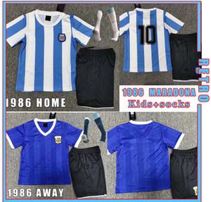 Maradona 1986 Argentina Maradona # 10 Retro Jersey Jersey Kit Kits Home Away Versão 1986 Maradona CanigGia Camisa de Futebol Vintage