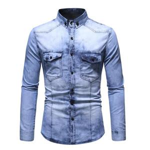 Dropshipping Negizber 2021 Sonbahar Kış Kot Gömlek Erkekler Slim Fit Su Dilek Uzun Kollu Demin Jeans Gömlek Erkekler Streetwear