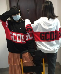 In stock Gcds Yang Mi Black Red Casual Sweater Stitching Round Neck Gcds Loose Men And Women Couple Sweater