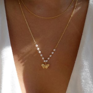 Fashion Pearl Butterfly Combinazione multistrato Collana Signore Style Style All-Match Maglione Maglione Donne