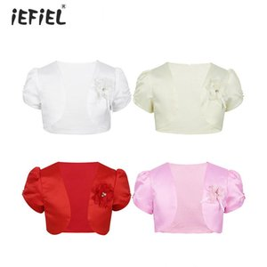 iEFiEL Kids Girls Short Sleeves Open Cardigan Round Neck Beads Flower Satin Bolero Short Jacket Shrug Flower Girl Dress Cover Up