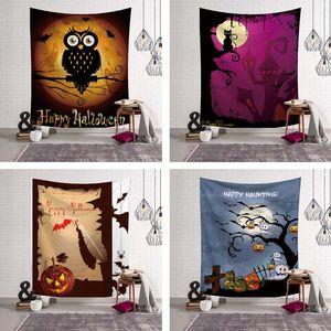 Assombro feliz Halloween decoração da parede Ornamento Pendurar Porta Tapestry Haunted House Partido Psychedelic Halloween Decor Blanket