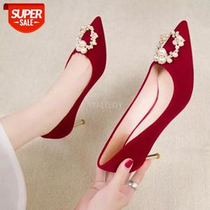 YTMTloy zapatos de boda rojos sexy tacones altos de lujo vestido de fiesta de perlas elegante dama bombas nuevas llegadas de punta puntiaguda cristal # 7R7S