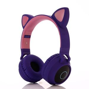 2020 cat headphones TF card FM audio line Classic cat ear flash light headphones kids cat ears headset