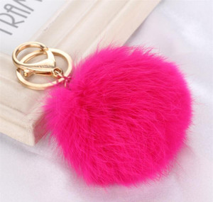 Multi Color Pink Rabbit Fur Ball Keychain Bag Plush Car Key Holder Pendant Key Chain Rings For Women 2020 New wmtGtU otsweet