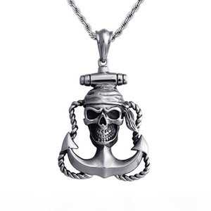 Stainless Steel Skeleton Ship Anchor Necklace Crooked Cross Pendant Necklace D258 (Necklace 24inch)