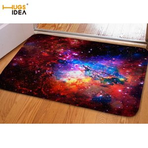 HUGSIDEA Fashion Space Stars Galaxy Carpet Funny Flannel Area Rugs for Bedroom Bathroom Kitchen Mat Door Carpet Tapete Alfombras