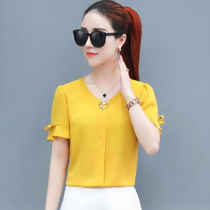 Korean Style Women Spring Summer Chiffon Blouses Shirts Lady Casual Short Flare Sleeve V Neck Blusas Tops DF2841