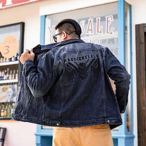 Plus Size 6XL 7XL 8XL Brand Denim Jacket Large Size Men's Clothes Autumn Winter New Back Letter Embroidery Oversize Jeans Jacket