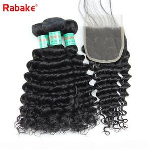 Rabake 8A Qualidade profunda Brasileira de onda Virgin Cabelo Humano Weave Pacotes com 4x4 Top Lace Closures Sew no Cabelo Weave Pacotes com fecho