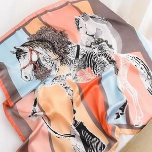 New Twill Silk Scarf Women Design Ten Horse Printing Square Scarves Fashion Shawl&Wraps Female Foulard Kerchief Bandana