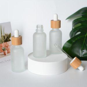 3pcs 200pcs 30ml 1oz Natural Bamboo Frosted Glass Dropper Bottles, Essential Oil Bottles, Makeup Packaging, Dropper Bottles