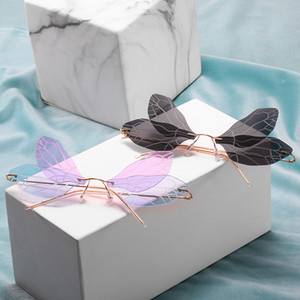 Women Rimless Brand Designer Retro Sun Vintage punk Sunglasses Female Lady Butterfly Glasses UV400 FML