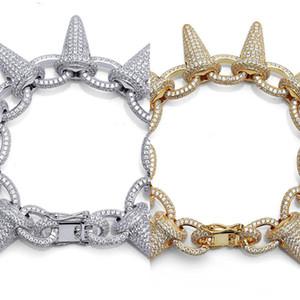 Topgrillz Spikes Rivet Stud Mens Niet Charm Armbänder Euro Out Gold Silber Farbe Armbänder für Männer Hip Hop / Punk Schmuck Y1130