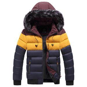 Varsanol Winter Mens Puffer Jacket Striped Thick Hooded Jacket Coat Fur Collar Men Parkas Clothing Cotton Warm Oversized