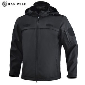 HAN WILD Military Jacket Men Hiking Jackets Softshell Clothes Windbreaker Tactical Army Hoody Jacket Winter Coat Adjustable